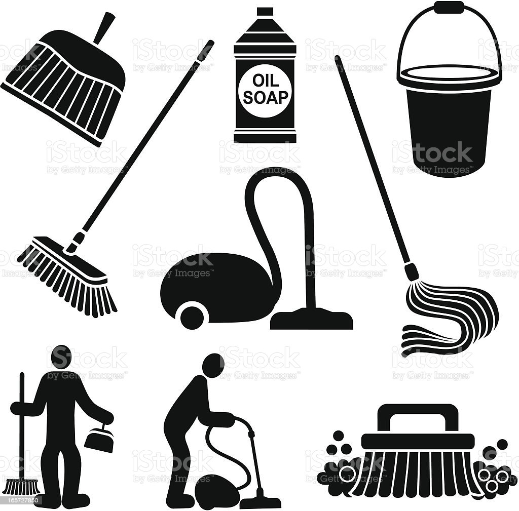 cleaning the floor vector art illustration