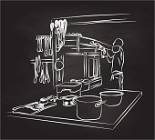 Chalkboard illustration of a restaurant kitchen and an employee working in the background