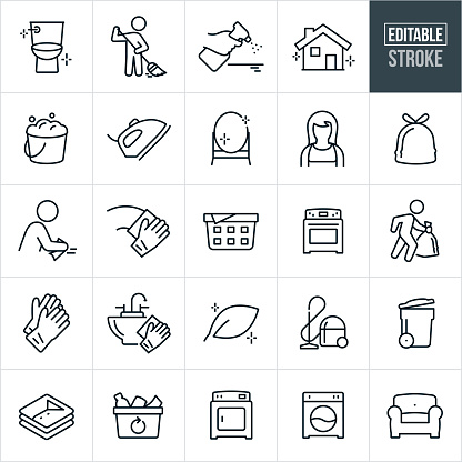 Cleaning Thin Line Icons - Editable Stroke
