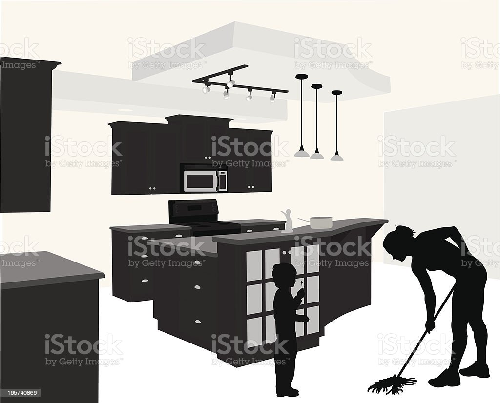 Cleaning Time Vector Silhouette royalty-free stock vector art