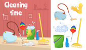 Cleaning tools and equipment with cartoon mop, bucket and vacuum cleaner illustration vector background.