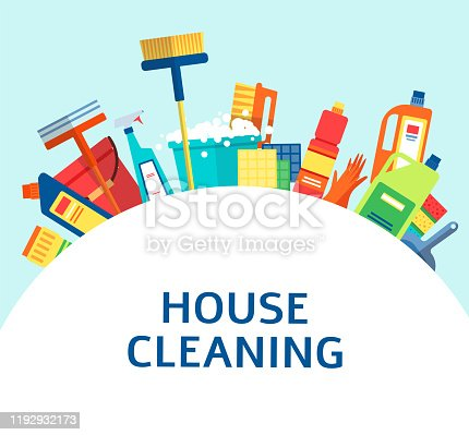 istock Cleaning tools and products in a banner for service flat vector illustration. 1192932173