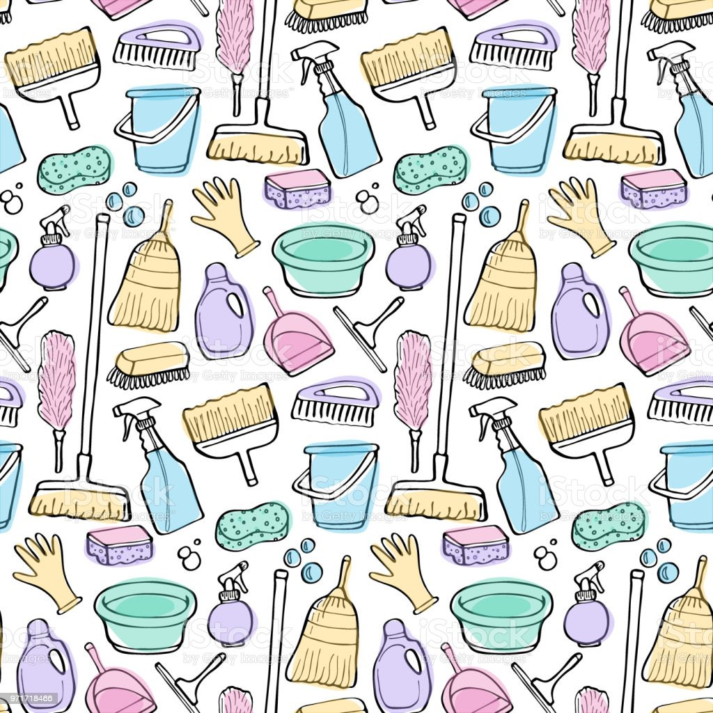 Cleaning tools doodle vector seamless pattern vector art illustration