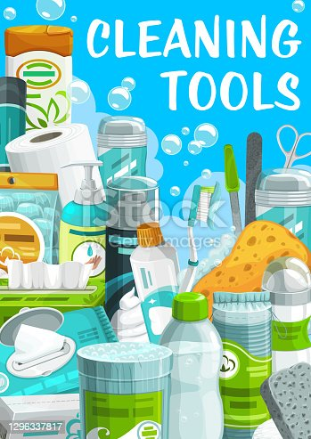 istock Cleaning tools, hygiene and body care products 1296337817