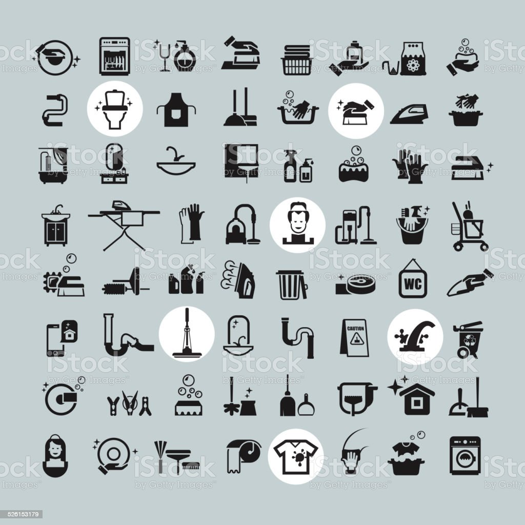 Cleaning Tools icons. vector black cleaning icons set vector art illustration