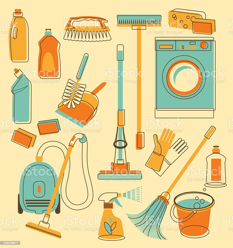 Cleaning tools in doodle style vector art illustration