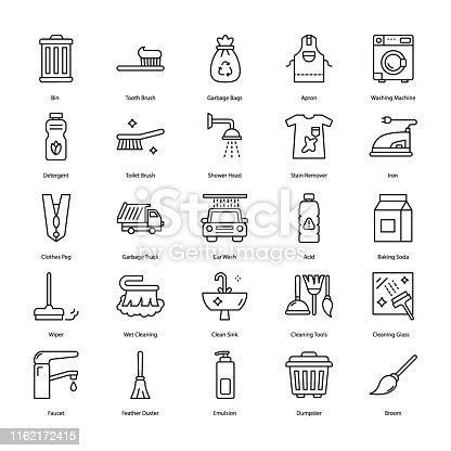 Here is a set of cleaning tools line vectors, having  conceptual visuals of house cleaning icons that you can simply modify as per your project need.