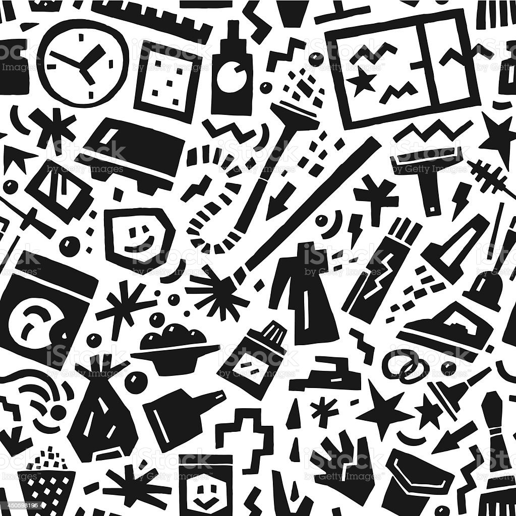cleaning tools - seamless pattern royalty-free stock vector art