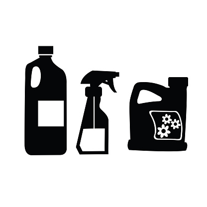 Cleaning Vector Icon. Set of detergent bottles or containers, cleaning supplies.