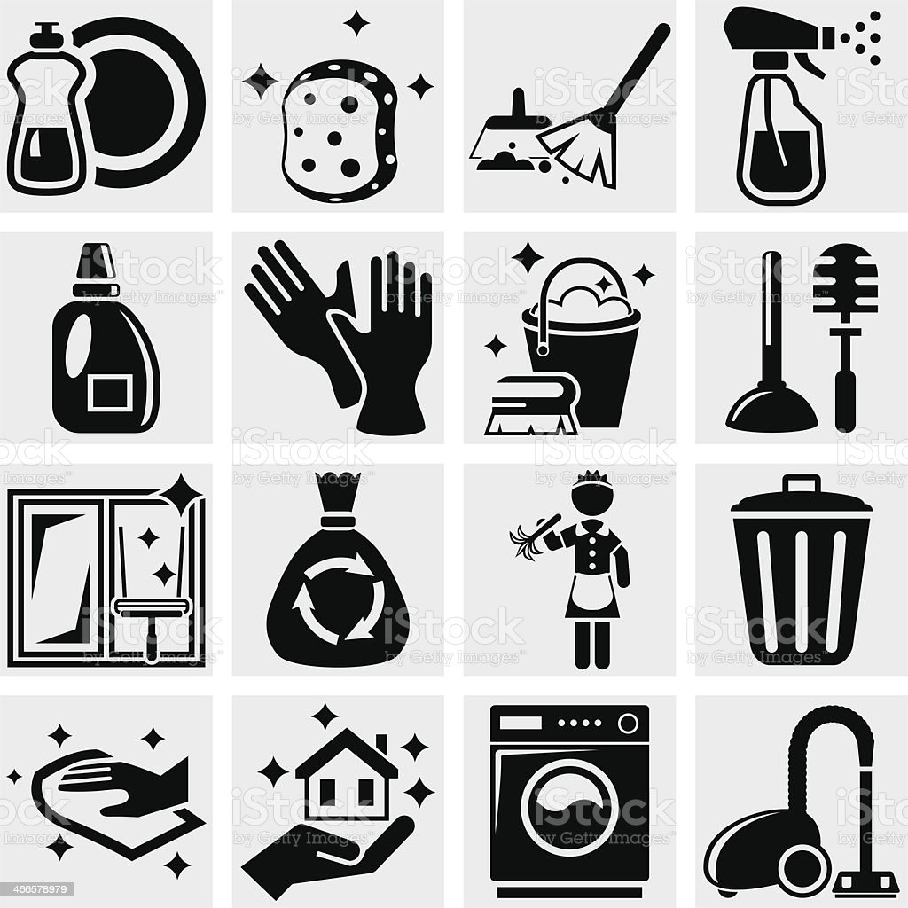 Cleaning Vector Icons Set On Gray Stock Vector Art Amp More