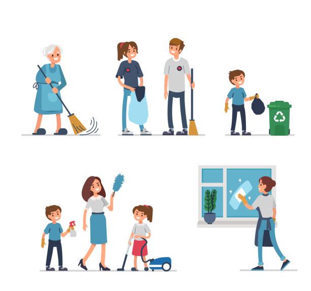 stockillustraties, clipart, cartoons en iconen met reiniging - vrouw schoonmaken