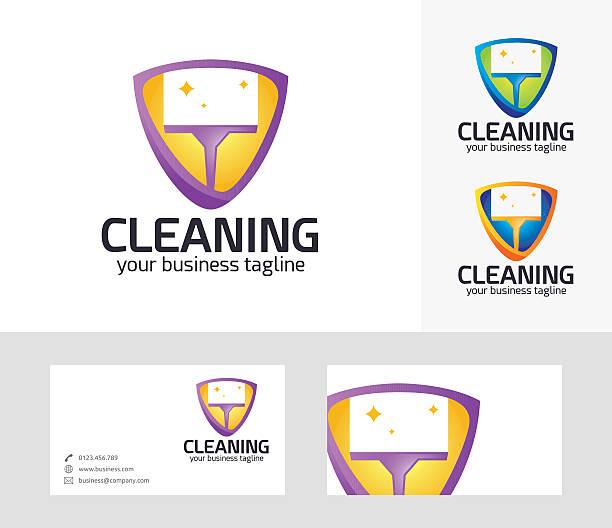 cleaning vector logo - vakuumverpackung stock-grafiken, -clipart, -cartoons und -symbole