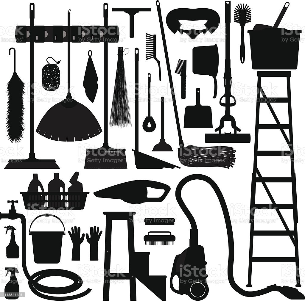 Cleaning Washing Domestic Household Tool Equipment vector art illustration