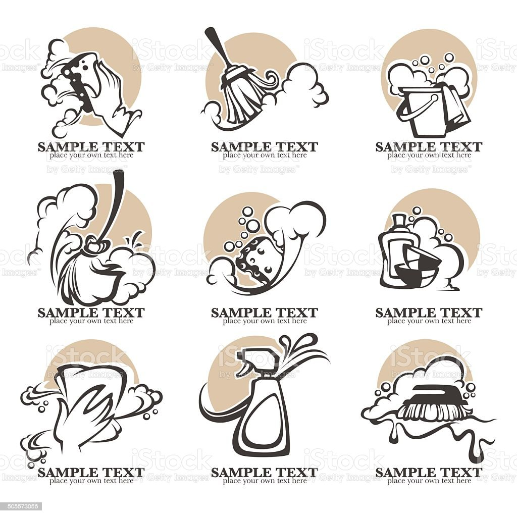 cleaning, washing, sweeping and chamberwork, vector emblems vector art illustration