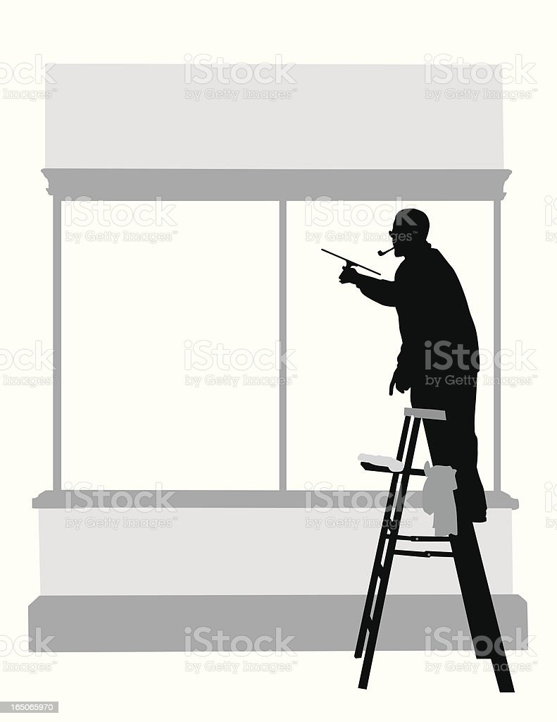 Cleaning Windows Vector Silhouette royalty-free cleaning windows vector silhouette stock vector art & more images of activity