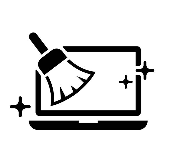 PC ( laptop computer ) cleaning with broom ( duster ) vector icon illustration vector art illustration