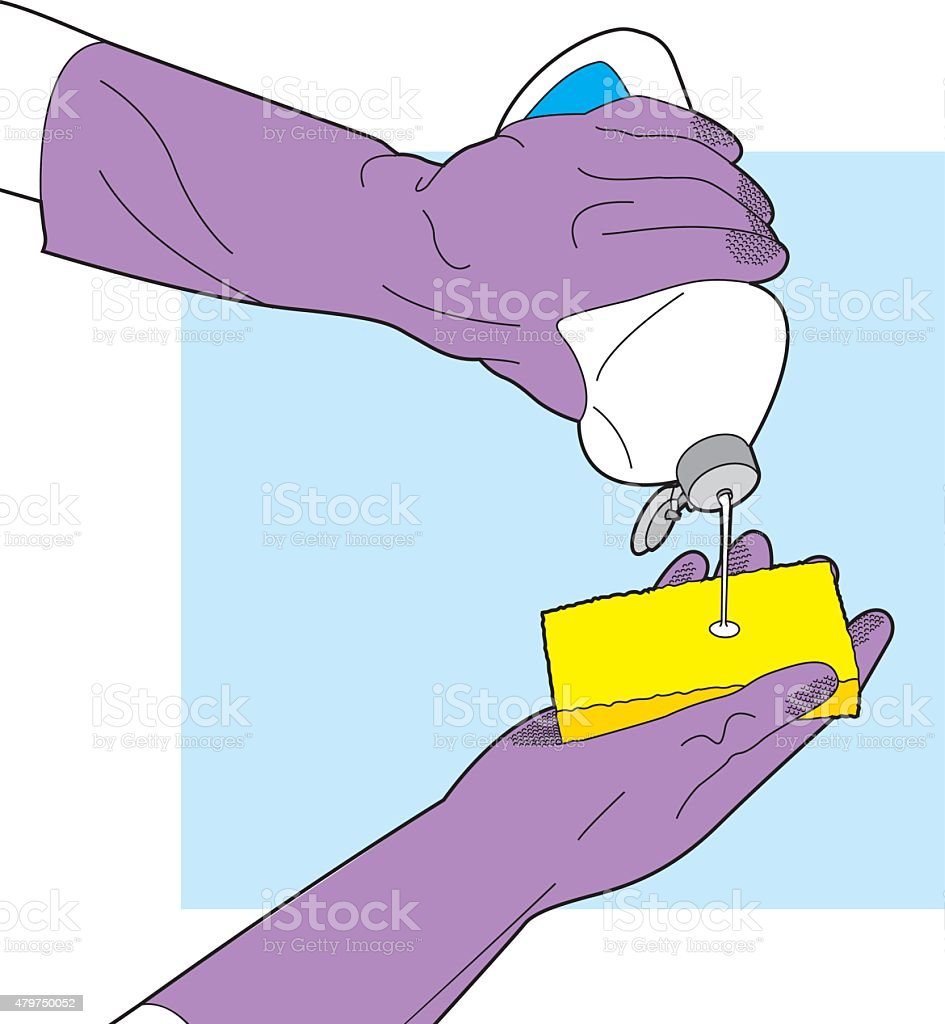 Cleaning With Sponge Line Art Stock Vector Art & More Images of 2015 ...