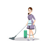 Cleaning woman use vacuum cleaner to wash kitchen floor at boss home. Flat style. Vector illustration on white background