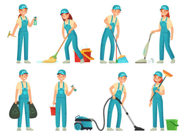 illustrazioni stock, clip art, cartoni animati e icone di tendenza di cleaning workers. professional cleaning staff, domestic cleaner worker and cleaners equipment. home clean cartoon vector set - addetto alle pulizie