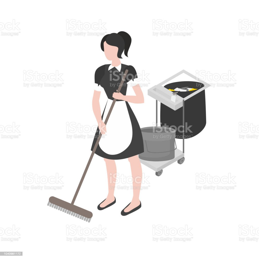 Cleanup and housekeeping set. Isometric maid in uniform. Cleaning...