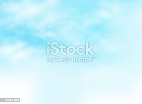 istock Clear blue sky with clouds pattern background illustration. 970341460