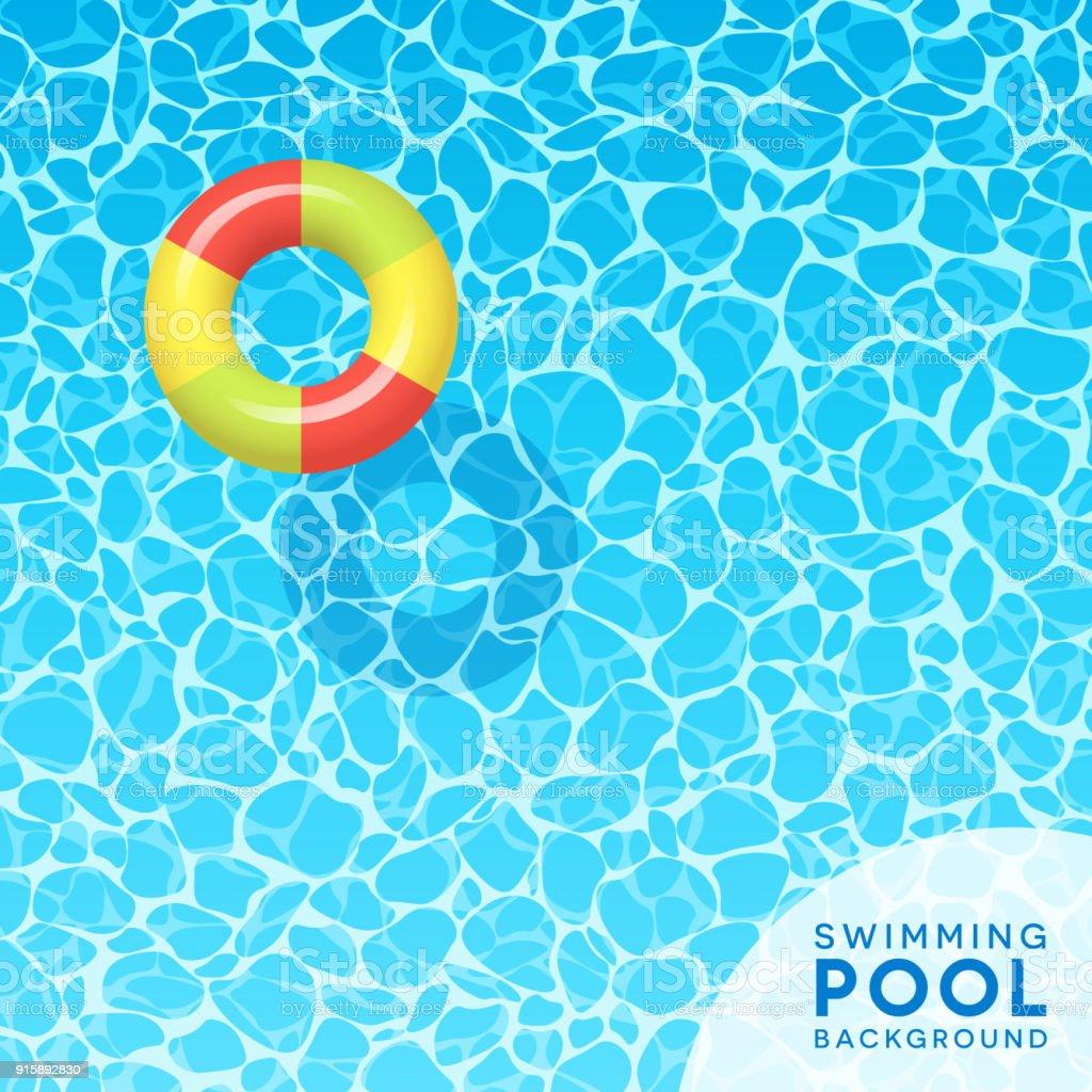 春休みのため青いプール水背景をクリア、旅行、夏のデザイン。 ベクターアートイラスト
