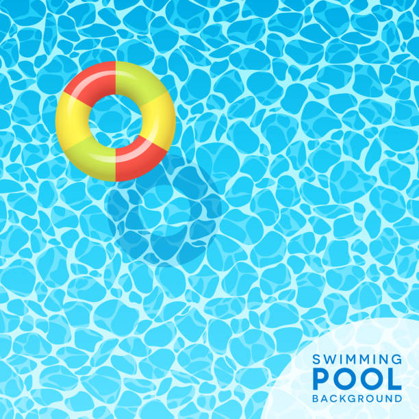 Clear blue swimming pool water background for spring break, travel and summer designs. Clear blue swimming pool water background with floating inflated swim ring. For banners, brochures, invitations about spring break, travel, and summer. Vector illustration. floating on water stock illustrations