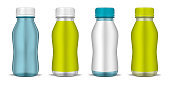Clear bottle with round screw cap and blank label, realistic mockup illustration. Liquid food product, drink container package set, vector template. Easy to recolor.