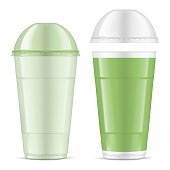 Clear empty tall cup with dome lid, realistic mock-up. Transparent plastic tumbler for takeaway drinks, vector illustration. Easy to recolor.