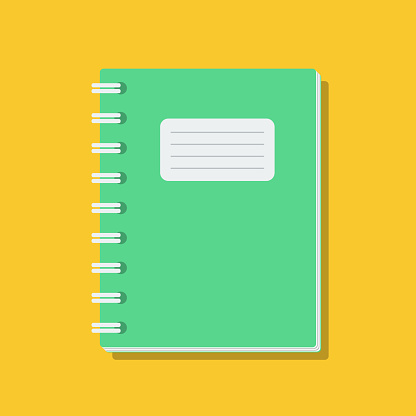 clear exercise book cover, flat vector illustration