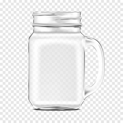 Clear glass mason jar with handle on transparent background, vector mockup. Empty drinking mug, realistic mock-up