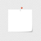 Clear list of paper with pin, staple, paper clip on the light background. Vector illustration