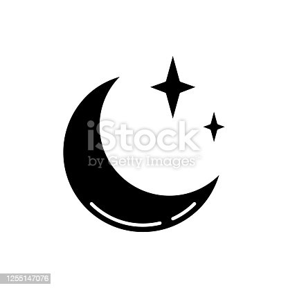 Clear night sky black glyph icon. Meteorology, weather forecasting science silhouette symbol on white space. Sky clarity prediction. Crescent, half moon with shiny stars vector isolated illustration