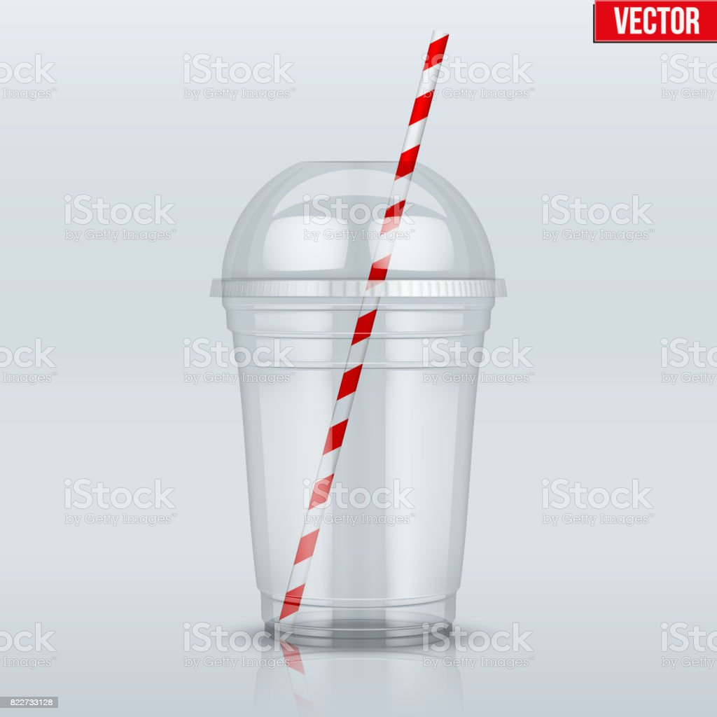 Clear plastic cup with sphere dome cap and tube vector art illustration