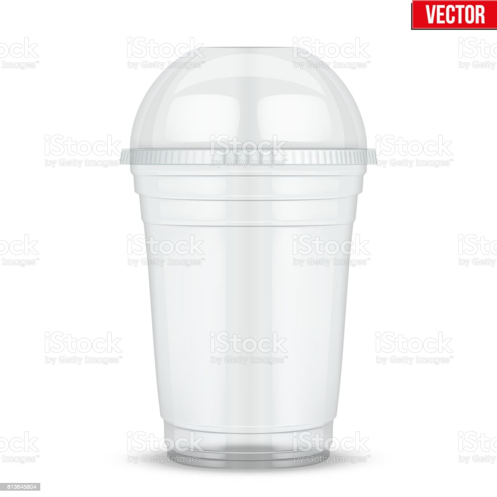 Clear plastic cup with sphere dome cap vector art illustration