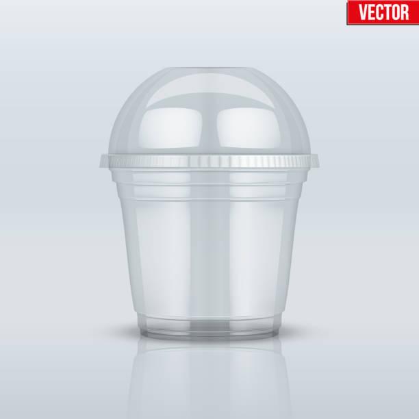 illustrazioni stock, clip art, cartoni animati e icone di tendenza di clear plastic cup with sphere dome cap - gelato confezionato