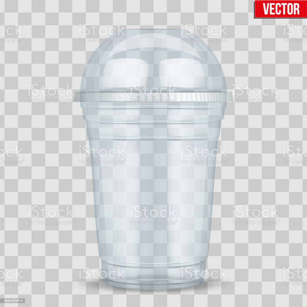 Clear plastic cup with sphere dome cap. vector art illustration