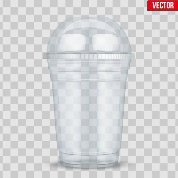 illustrazioni stock, clip art, cartoni animati e icone di tendenza di clear plastic cup with sphere dome cap. - gelato confezionato