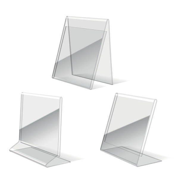 clear plastic holder icons - stehkarten stock-grafiken, -clipart, -cartoons und -symbole