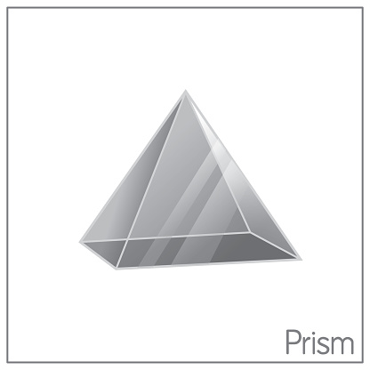 3D clear pyramid/prism perfect shapes. Colored image suitable for preschool coloring, comparison, drawing, doodle, art project, first word book or flash card.