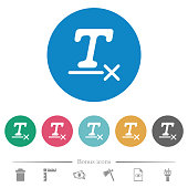 Clear text format flat round icons