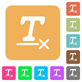 Clear text format rounded square flat icons