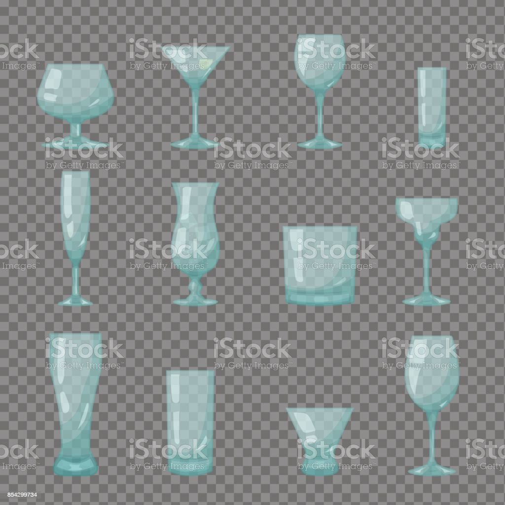 Clear transparent bar glasses vector art illustration