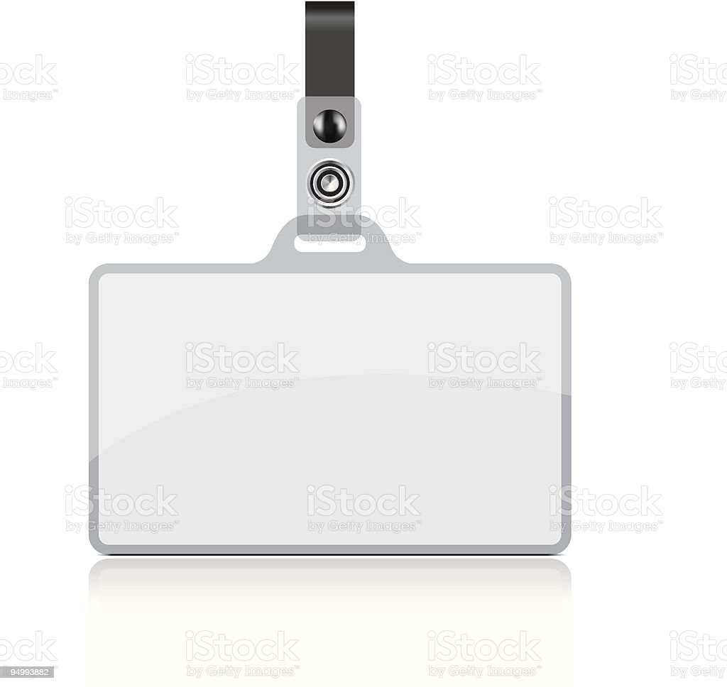 Clear vector name tag with attachment royalty-free stock vector art