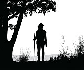 Woman hiking vector silhouette