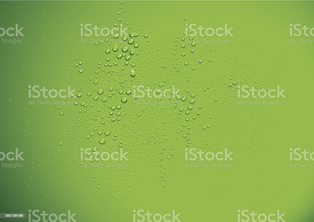 Clear water drops over a green background vector art illustration