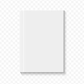 Clear white blank book cover template on the alpha transperant background with smooth soft shadows. Vector illustration.