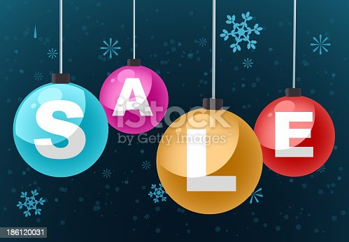 SALE clearance retail deal vector illustration cartoon, with snowflakes background.