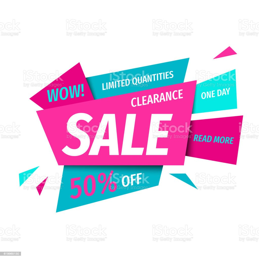 clearance sale banner template in modern geometric style
