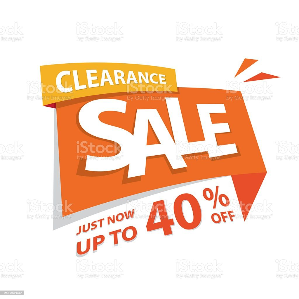Clearance Sale orange tag 40 percent heading design for banner. vector art illustration